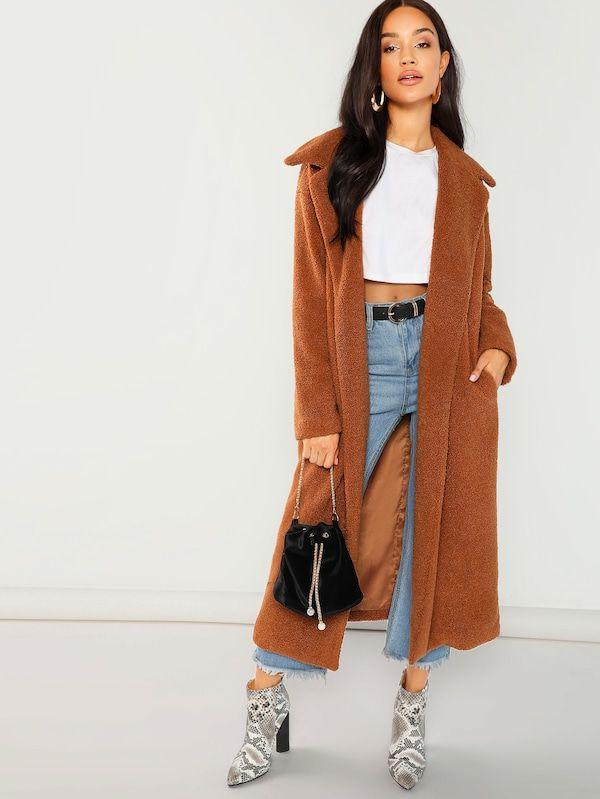 2c5d5a1198 Solid Longline Faux Fur Teddy Coat -SheIn(Sheinside) | Presents for ...