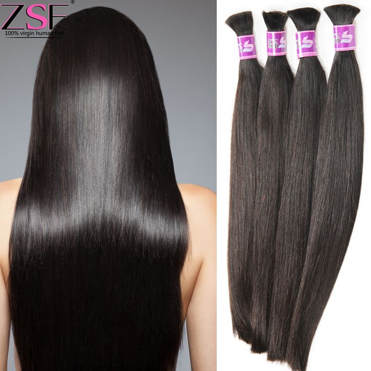 ZSF Hair Mix Length Brazilian Virgin Hair Straight  Human Braiding Hair Bulk No Weft Brazilian Straight Remy Braiding Hair