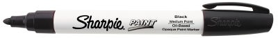 Use Sharpie Paint Pens on virtually any surface including metal, pottery, wood, rubber, glass, plastic, stone and more. This permanent oil-based opaque paint marker marks opaque and glossy on light or dark surfaces. The quick-drying paint is resistant to water, fading and abrasion. Available in 15 bold colors and 5 point sizes. AP Certified and Xylene free.  Black, red, blue, green, brown, yellow, pink, purple, orange, white, metallic gold, metallic silver, lime green, magenta and aqua blue.
