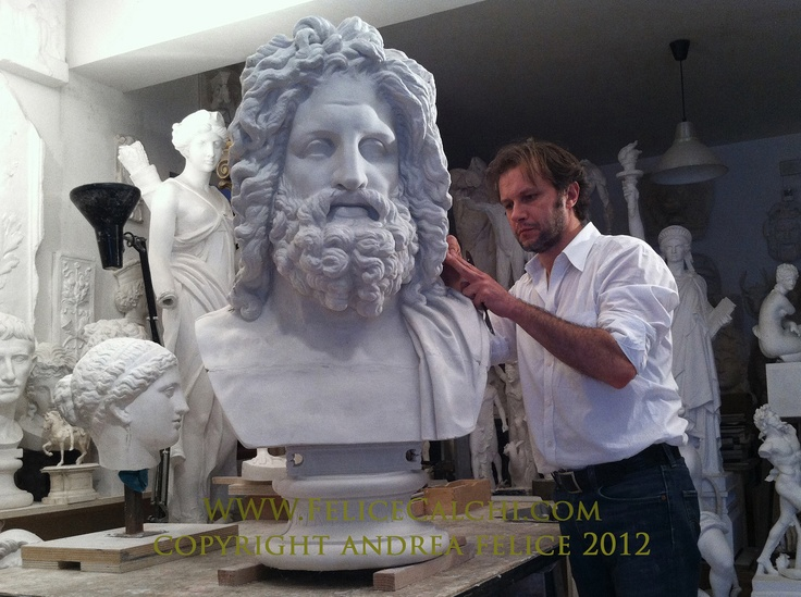 Andrea Felice casting a Bust of Jupiter, 2012