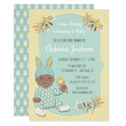 Ethnic Boy Bunny outfit baby shower invitations - baby shower ideas party babies newborn gifts