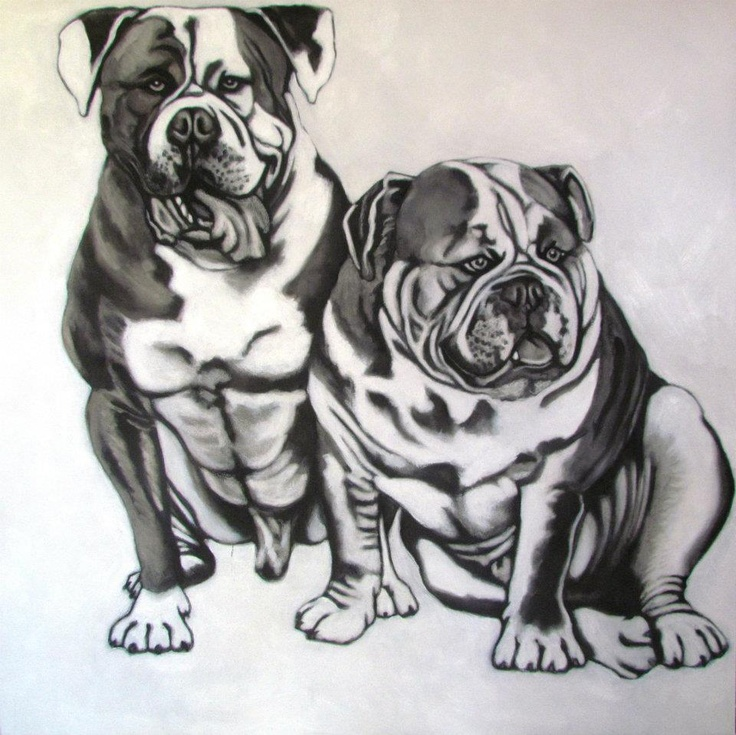 Dogs in charcoal.