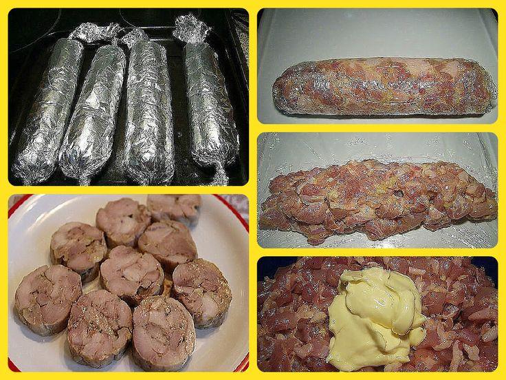Колбаса куриная домашняя быстрого приготовления.