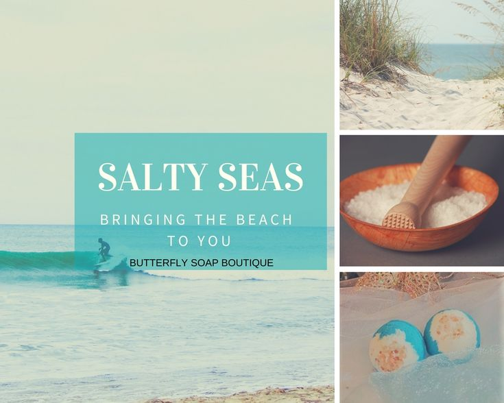 Salty Seas Bath Bomb~ smells of sea salt, sea moss, and green vetiver... everything that reminds me of the blue ocean, accented with pink himalayan salt  sold in a 2 pack on Etsy ~ ButterflySoapBtq