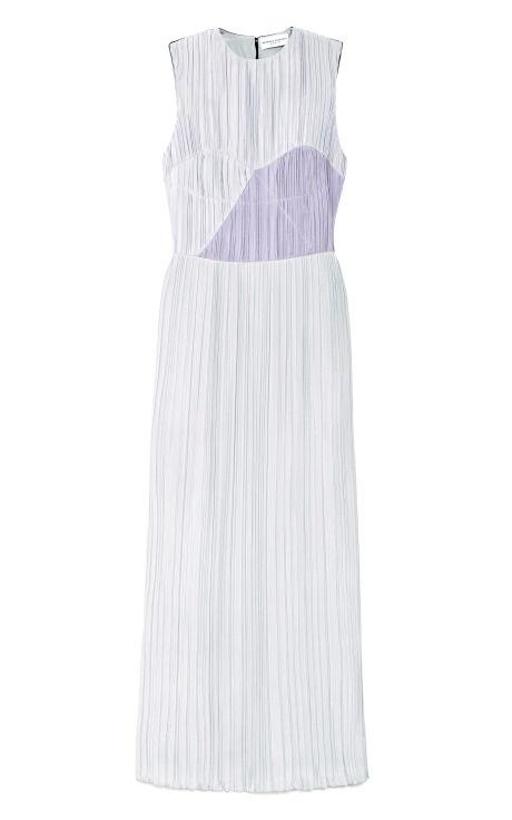 Sleeveless Crush Pleated Silk Cady Front Mid Dress