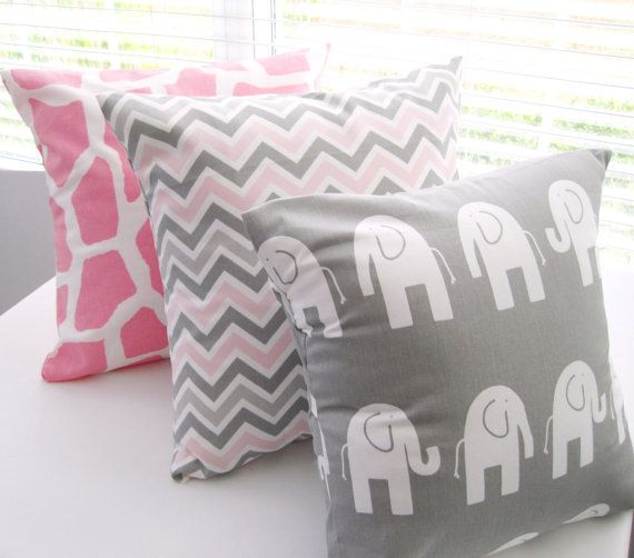 Pillow Decorative Pillows Children Kids Room Baby Nursery Pink Giraffe  Gray Elephant  Pink and Gray Zig Zag 3 Covers. $48.00, via Etsy.  Bought the front 2 and cannot wait to put them on the glider!!