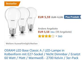Epic Amazon LED Birnen von Osram im Multipack mit Rabatt https