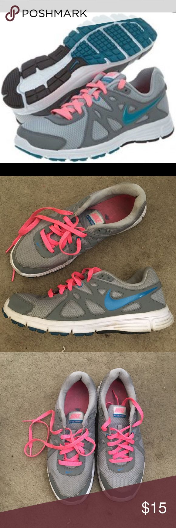 Nike revolution 2 teal grey and pink shoes Nike revolution 2 running shoes. Great with teal blue and hot pink details. Perfect everyday running shoe. Some scuffs, holes and small stains. Nike Shoes