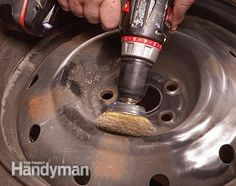 How to Refinish Wheels: Wire-brushing the wheel is a mandatory step in refinishing the wheel. Get the instructions: http://www.familyhandyman.com/automotive/car-maintenance/how-to-refinish-wheels/view-all