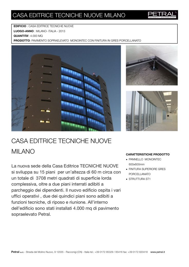 TECNICHE NUOVE MILANO - News - PAVIMENTI SOPRAELEVATI - PETRAL