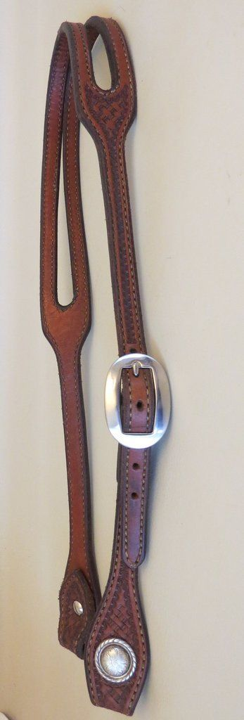 9683 New Handmade ANDERS SADDLERY Basket Stamped Doubled Stitched Slot Ear Headstall