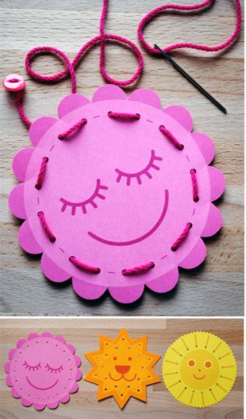 Free printable kids sewing cards - cute kids craft / activity
