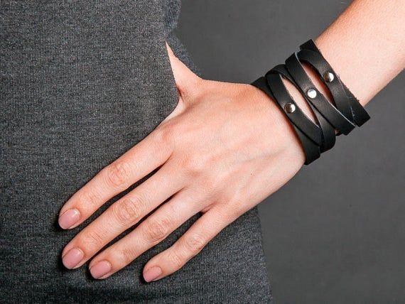 Black Bracelet Black Cuff Leather Bracelet Black Leather Wrist Cuff Leather Wide Cuff Steampunk Wrist Cuff