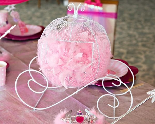 Princess carriage centerpiece from for Baby carriage decoration