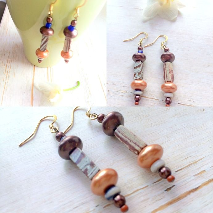 Dangle Boho Gypsy Jeans Style Earring / Landscape Jasper  by BatyaHavDesign, $18.00 USD