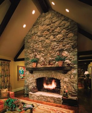 sooo romanticLiving Rooms, Lighting, Dreams House, Rocks Fireplaces, Beautiful Fireplaces, Fireplaces Refacing, Vaulted Ceilings, Recess Lights, Fire Places