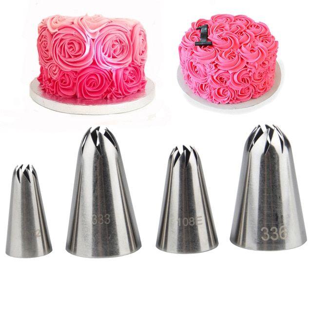 4pcs Spiral Rose Nozzles Cake Decorating Set Pastry Tips Cream Icing Piping Baking Tools Bakeware Cake Decorating Set Creative Cake Decorating Cake Decorating