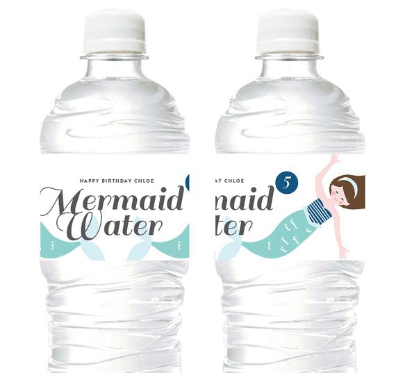 Mermaid Candy Juice Soda Water labels/ drink by DesignMyPartyShop
