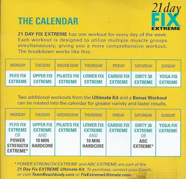 21 Day Fix Extreme workout schedule Contact me to join my next 21 Day Fix group! www.beachbodycoach.com/jend2382 or jenderasmo@gmail.com