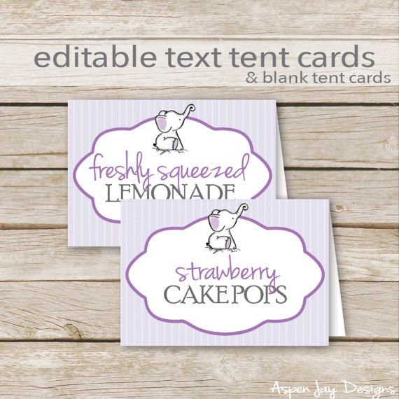 purple elephant baby shower tent cards diy editable food labels