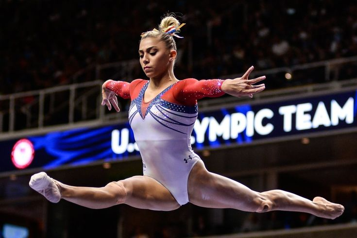 Ashton Locklear competes on the balance beam during the Olympic trials in July.