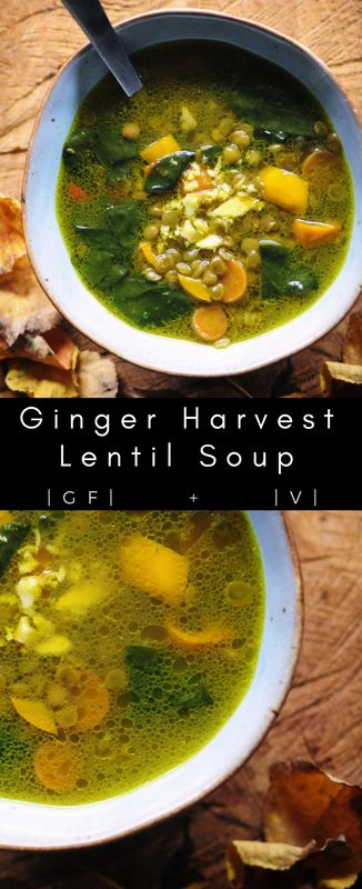 Ginger Harvest Lentil Soup (Vegan, Gluten Free) #ginger #lentil #soup #vegan #glutenfree #harvest