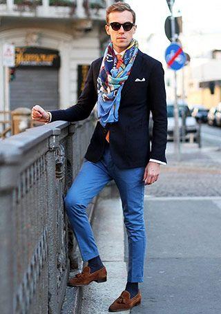 ストールとクロップド丈がオシャレ メンズ秋冬ファッション<スラックス>