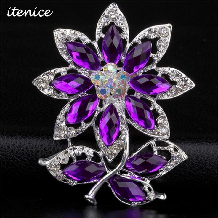 2016 Fashion Brand Brooch Jewelry High Quality Brooch Bridal Wedding Purple Crystal Rhinestone Party Brooch for Women