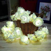 Divat Holiday Világítás 20 x LED Újszerű Rose Flower Fairy karakterlánc Lights Esküvői Garden Party karácsonyi dekoráció forró értékesítési (Kína (szárazföld))