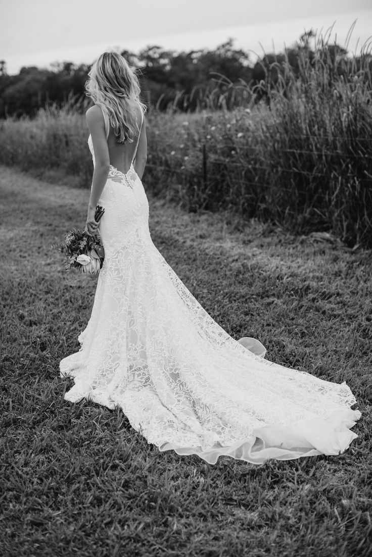 Love the lower back lace detail on this gown