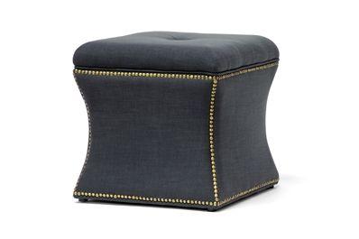 Baxton Studio Shrewsbury Dark Gray Linen Modern Ottoman - $68 | Affordable Modern Furniture in Chicago