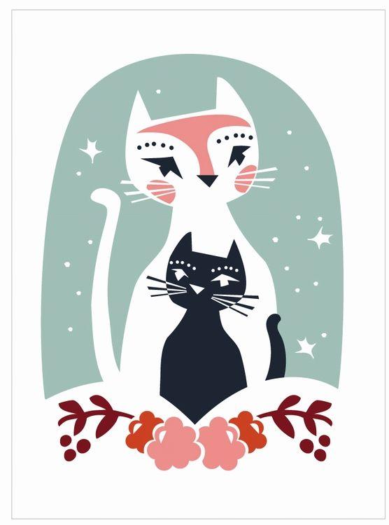 Darling Clementine wenskaart dubbel Cats' Greeting #Card #Cats from http://www.kidsdinge.com https://www.facebook.com/pages/kidsdingecom-Origineel-speelgoed-hebbedingen-voor-hippe-kids/160122710686387?sk=wall http://instagram.com/kidsdinge