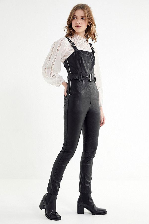 908f69762f65 Slide View  1  Dahli Tatum Belted Faux Leather Jumpsuit