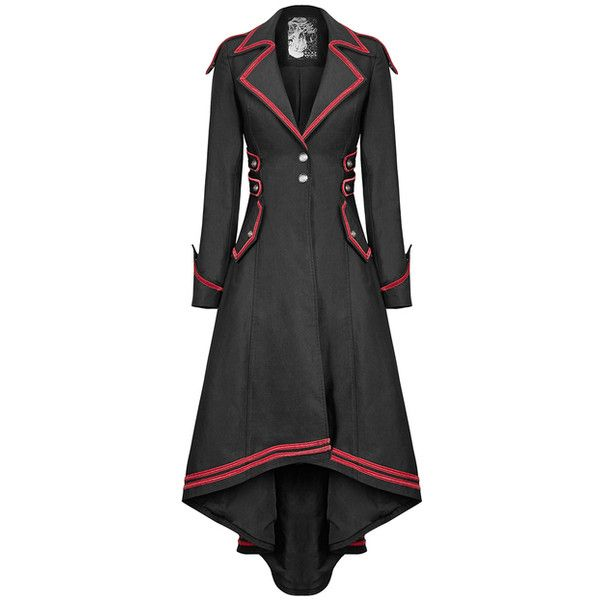 PUNK RAVE CONSTANCE WOMENS MILITARY COAT BLACK RED Violent Delights ❤ liked on Polyvore featuring outerwear, coats, goth coat, gothic long coat, red military coat, long coat and gothic military coat