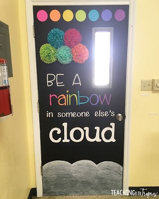 Door quote for a chalkboard rainbow theme. Check out my blog post for details on how I created this display in my classroom!