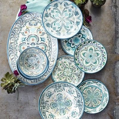 Al fresco Veracruz Blue Melamine Dinnerware Collection #williamssonoma