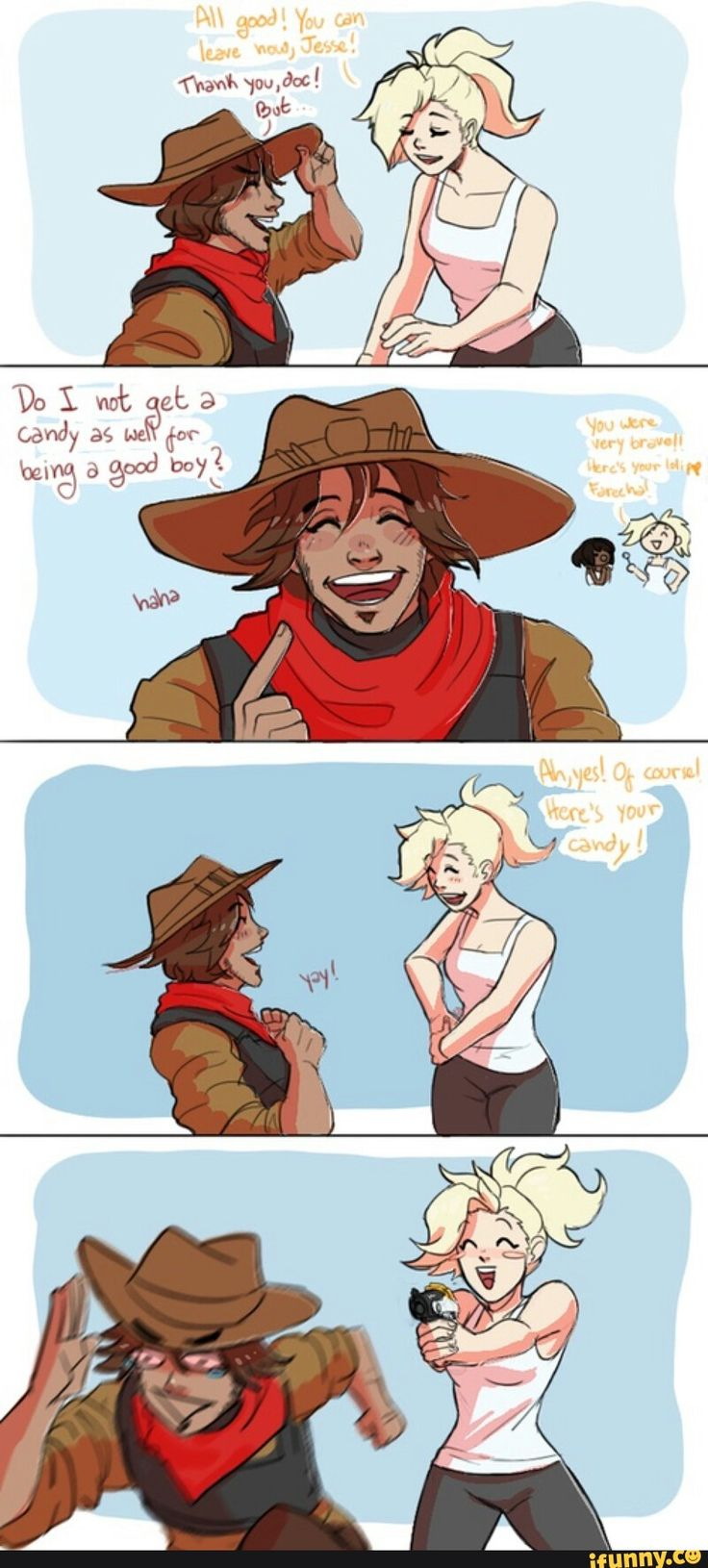 overwatch, mercy, mccree | headcannon these two are like besties.