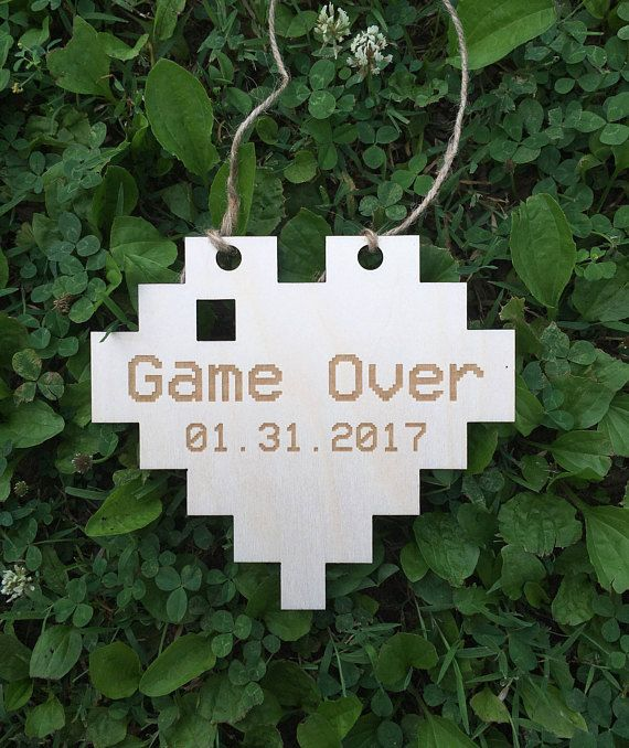 Player One and Player Two pixel heart Engagement Photo Prop Sign – Uncle here comes the bride – Gamer Wedding Sign – Video Game Wedding sign