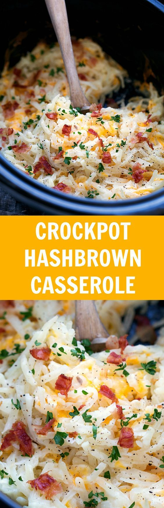 Simple Slow Cooker Hashbrown Casserole. Easy and healthier -- NO cream of soups!:
