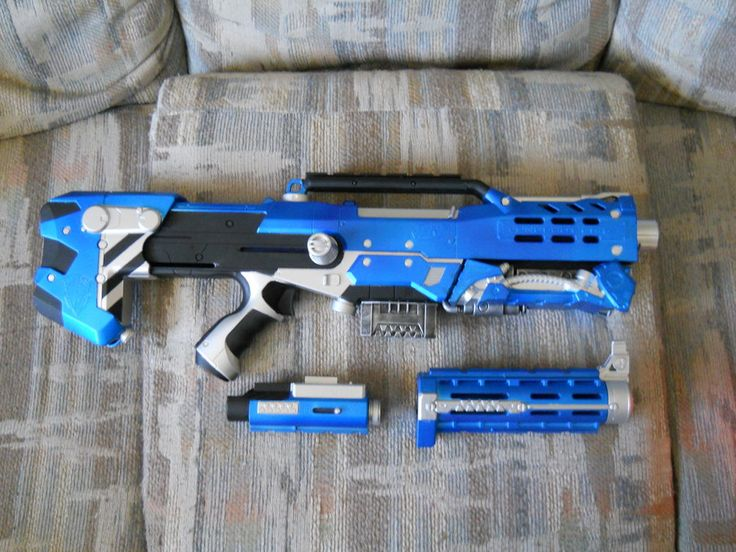 This is a higher-res shot of my Nerf Longshot gun with the recon front barrel attachment. Available for sale on Etsy: