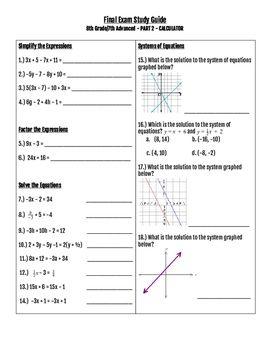 8th grade math final exam study guide pdf