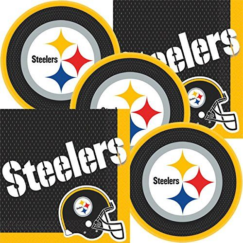 Pittsburgh Steelers NFL Football Team Logo Plates And Napkins Serves 16:   These great party supplies are perfect for your game night get together... Your special guests would love to eat their favorite dishes on these stylish well crafted party plates paired with a theme specific table napkins. What are you waiting for? Purchase these party plates and napkins and organize your unforgettable party today!