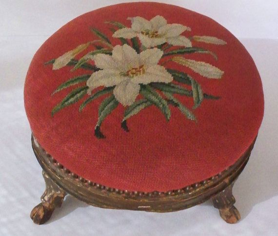 Antique Needlepoint Footstools   Antique Footstool Needlepoint Lily Floral Hand Carved Hoof Feet Hooves ...