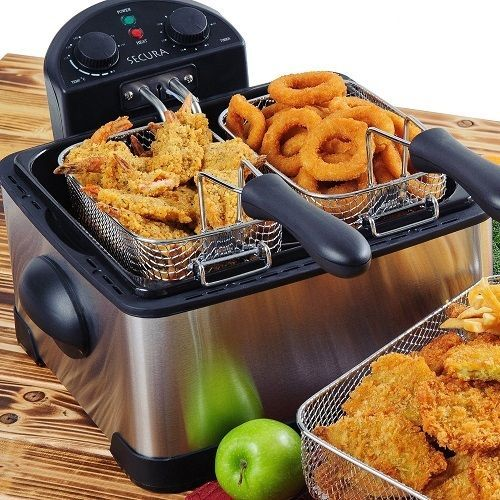 Deep Fryer Machine Fish Chips Removable Oil Tank Electric Cooking Baskets NEW