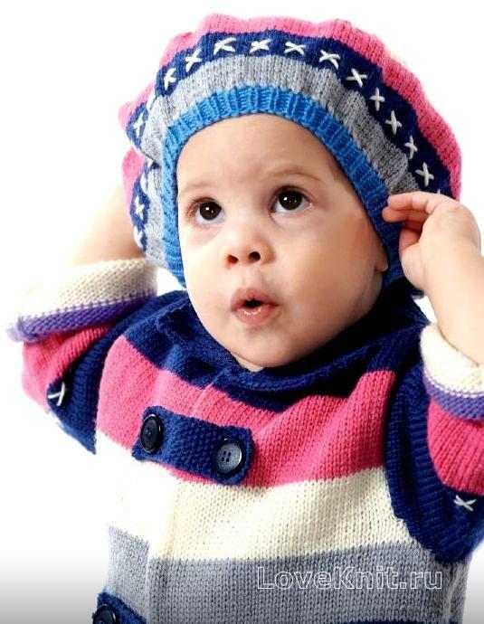 Спицами полосатый беретик и пальто для девочки фото к ...
