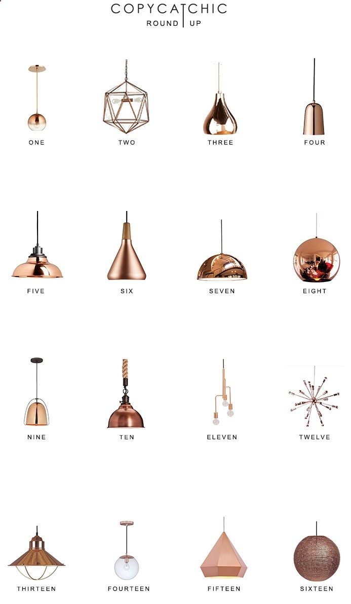 Our fave copper lighting picks by Copy Cat Chic luxe living for less budget home decor 16 of our favorite copper and rose gold chandeliers and pendants www.copycatchic.c...