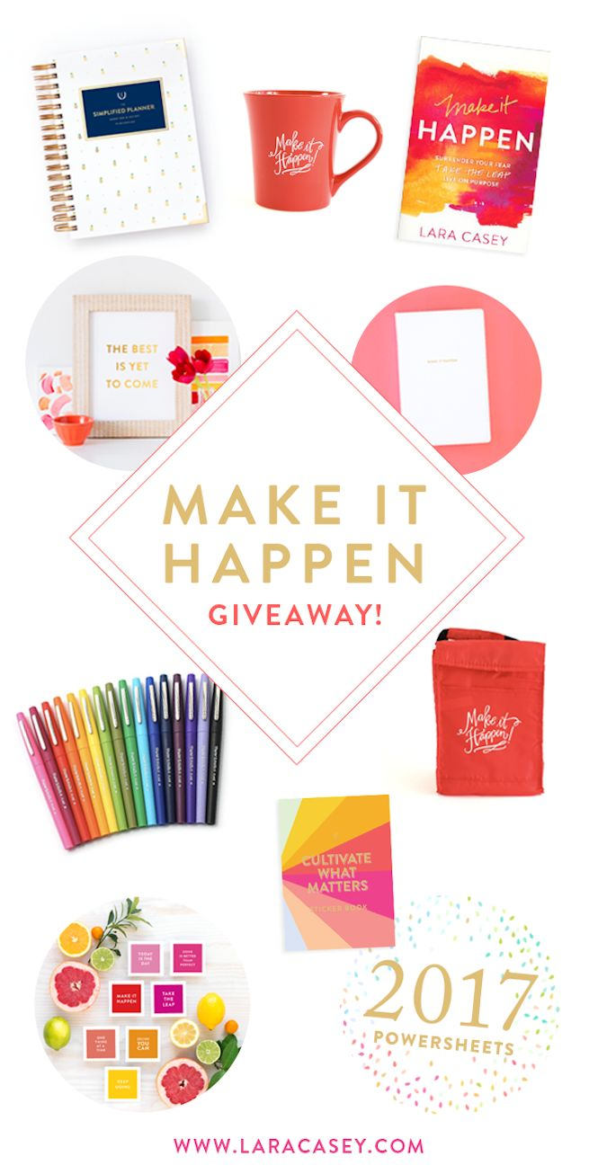One of my favorites, Lara Casey, is doing a HUGE giveaway. Lara created #PowerSheets (for intentional goal planning) and author of Make It Happen. She is so inspirational and positive. Check out Lara's blog and enter the giveaway!