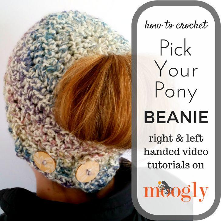 Pick Your Pony Beanie - free crochet pattern with video tutorials on Mooglyblog.com!  #diy #crafts