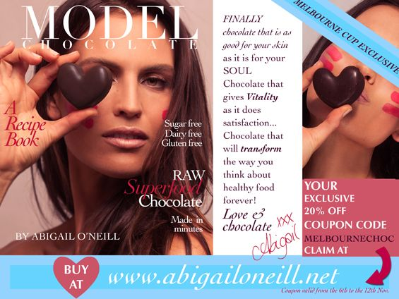 Model Chocolate is offering 20% off their newly launched e-book to celebrate Melbourne Cup head to http://abigailoneill.net/newsite/ to get your copy.