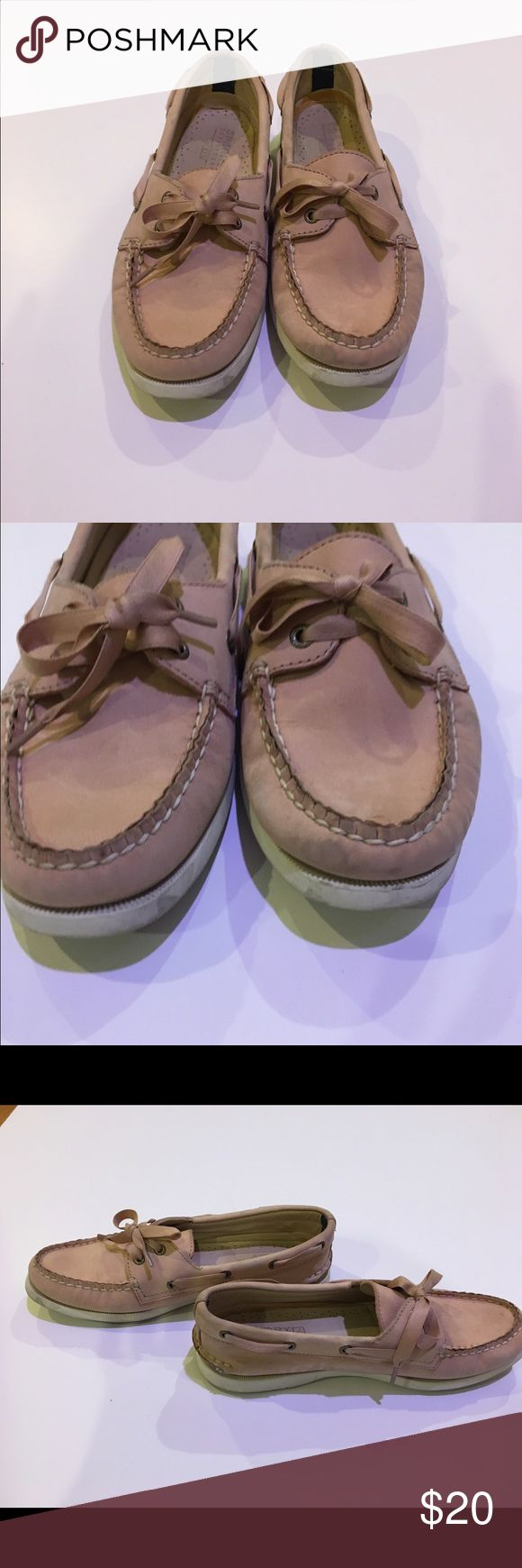 Sperry top sider for j.crew Pre loved. Have been worn a ton of times. Shows signs of wear with noticeable marks.  I have never tried to clean them so they might come out. Price reflects condition. Sperry Top-Sider Shoes Flats & Loafers